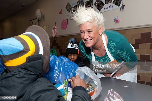 Chef Anne Burrell attends Food Bank For New York City's Thankful To Give holiday campaign event at the Food Bank for New York City's Community...