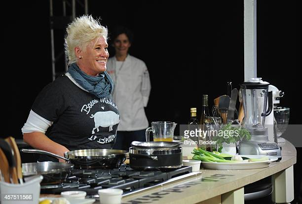 Chef Anne Burrell conducts a culinary presentation on KitchenAid stage at the Grand Tasting presented by ShopRite featuring KitchenAid® culinary...