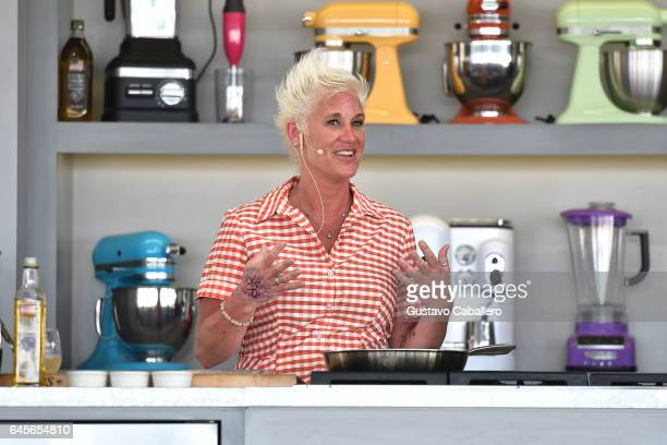 Chef Anne Burrell leads a cooking demonstration on stage at Goya Foods' Grand Tasting Village Featuring Mastercard Grand Tasting Tents KitchenAid...