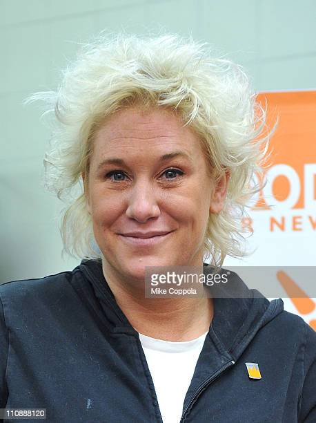 Chef Anne Burrell serves dinner at the Food Bank for New York City's Community Kitchen of West Harlem on March 25 2011 in New York City