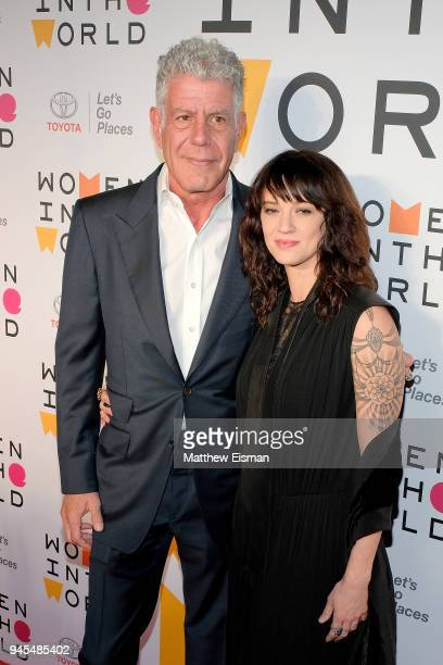 Chef Anthony Bourdain and actor Asia Argento attend the 2018 Women In The World Summit at Lincoln Center on April 12 2018 in New York City