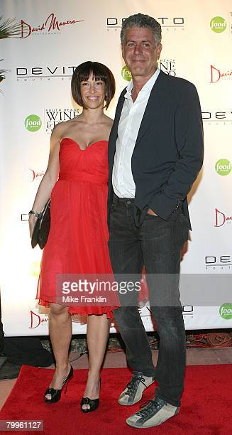 Chef Anthony Bourdain and guest arrive at the 'Fettuccini Fiorentina' event at DeVito South Beach on February 24 2008 in Miami Beach Florida