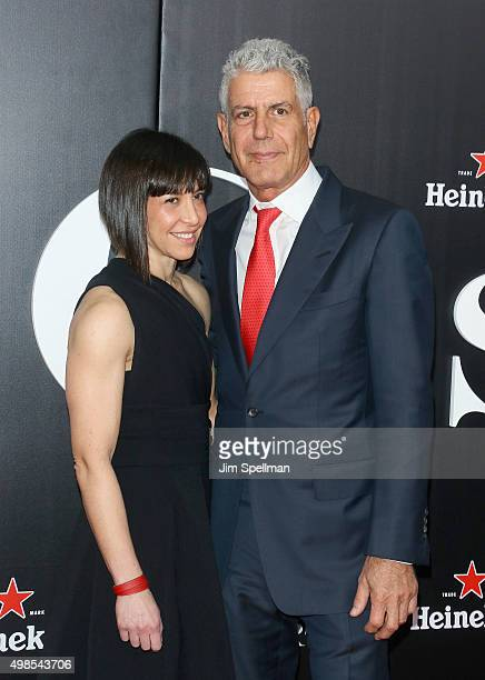 Chef Anthony Bourdain and guest attend the 'The Big Short' New York premiere at Ziegfeld Theater on November 23 2015 in New York City