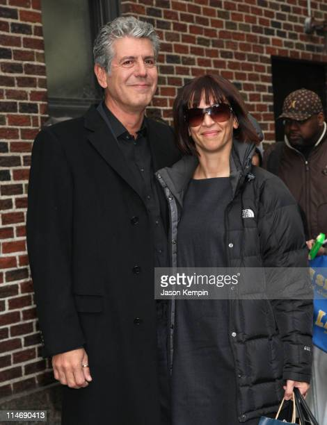 Chef Anthony Bourdain and wife Octavia Bourdain visit 'The Late Show With David Letterman' at the Ed Sullivan Theater on March 24 2008 in New York...