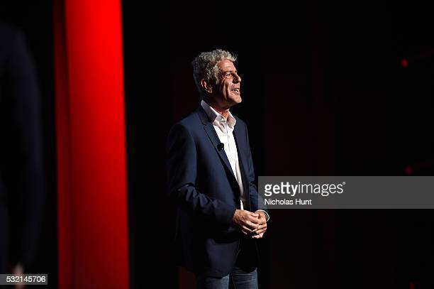 Chef Anthony Bourdain appears on stage during Turner Upfront 2016 show at The Theater at Madison Square Garden on May 18 2016 in New York City