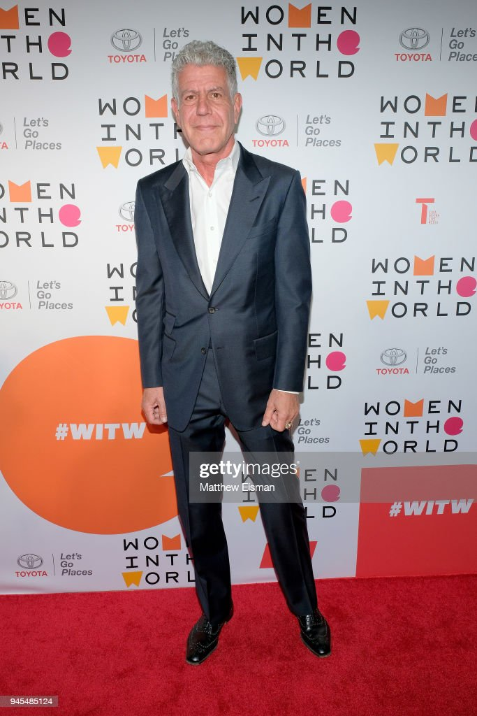 Chef Anthony Bourdain attends the 2018 Women In The World Summit at Lincoln Center on April 12, 2018 in New York City.