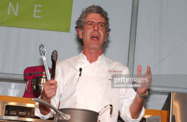 Chef Anthony Bourdain does a cooking demonstration at the South Beach Food And Wine Festival on February 26 2005 in Miami Beach Florida