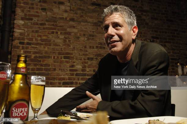 Chef Anthony Bourdain has a drink at Tintol restaurant in Times Square Bourdain is the star of Anthony Bourdain No Reservations the Travel Channel...