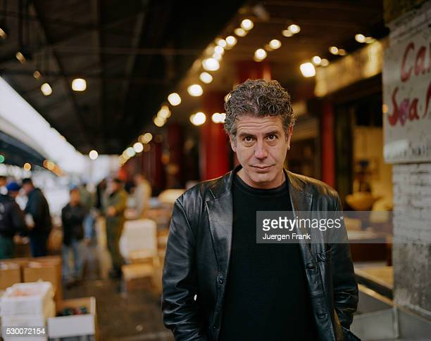 Chef Anthony Bourdain is photographed in June 2003 at the Fulton Fish Market in New York City