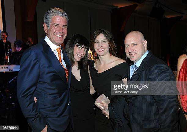 Chef Anthony Bourdain Ottavia Busia guest and Top Chef host Tom Colicchio attend the Food Bank for New York City's 8th Annual CanDo Awards dinner at...