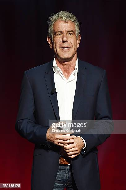 Chef Anthony Bourdain speaks on stage during the Turner Upfront 2016 show at The Theater at Madison Square Garden on May 18 2016 in New York City