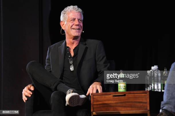 Chef Anthony Bourdain speaks onstage during the panel Anthony Bourdain talks with Patrick Radden Keefe at New York Society for Ethical Culture on...