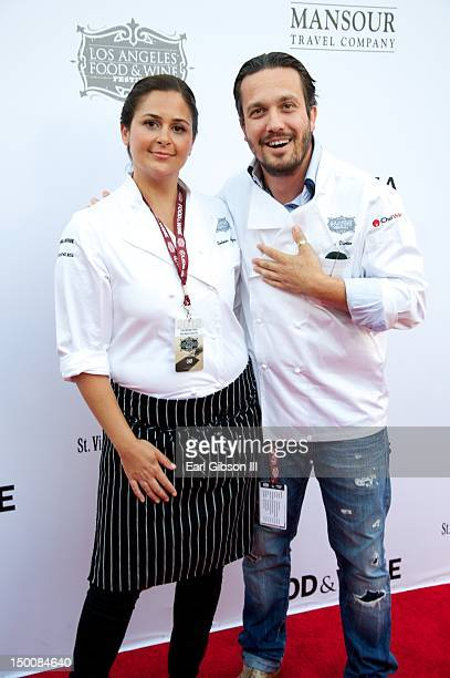 Chef Antonia Lofaso and Chef Fabio Viviani attend the Los Angeles Food Wine Festival at Nokia Plaza LA LIVE on August 9 2012 in Los Angeles California