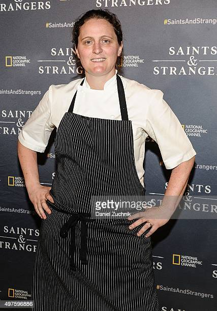 Chef April Bloomfield attends the National Geographic Channel's Saints Strangers Pub 1620 Grand Opening at Saints Strangers Pub 1620 on November 17...