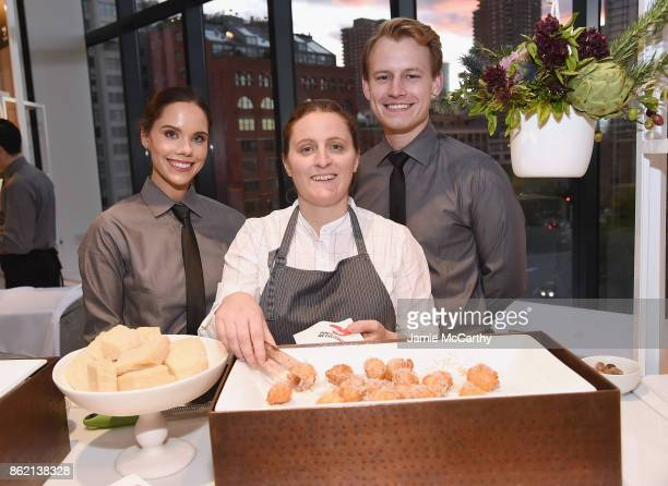 Chef April Bloomfield poses with food during the 11th Annual Golden Heart Awards benefiting God's Love We Deliver on October 16 2017 in New York City
