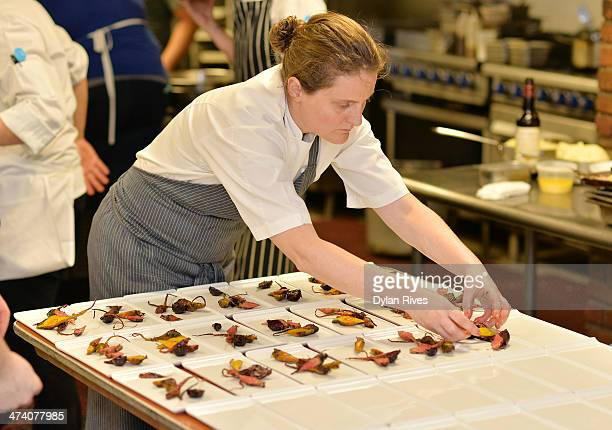 Chef April Bloomfield prepares food at The Forge welcomes Chef April Bloomfield in celebration of The Spotted Pig's 10th Anniversary part of The New...