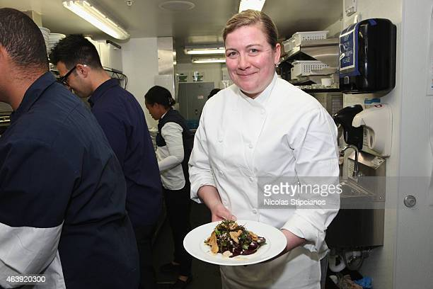 Chef Ashley Christensen prepares food at the Retro Feast Dinner hosted by Ben Ford Ashley Christensen and Jonathan Lane as a part of The New York...
