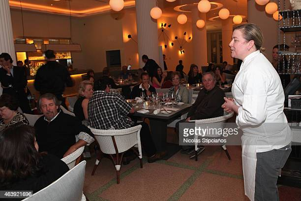 Chef Ashley Christensen speaks at the Retro Feast Dinner hosted by Ben Ford Ashley Christensen and Jonathan Lane as a part of The New York Times...