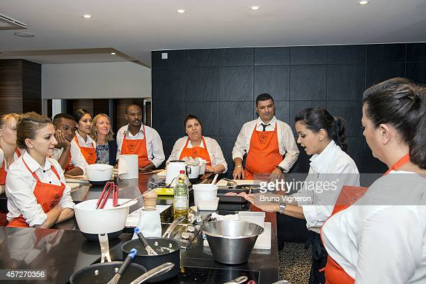 Chef at the Marguerite Restaurant Tabata Bonardi leads a cooking class at the restaurant school The Institute Paul Bocuse for a group of 12 trainees...