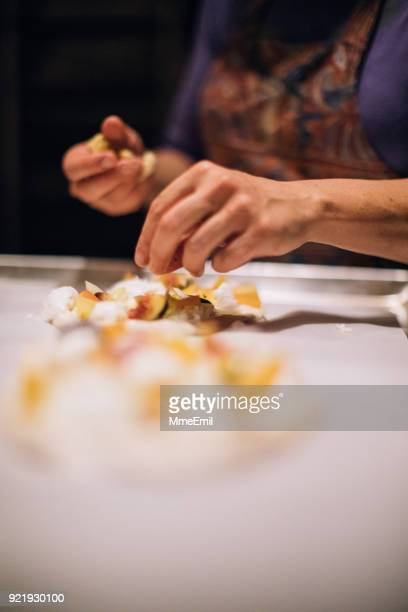 Chef At Work. Caterer Cooking In Commercial Kitchen