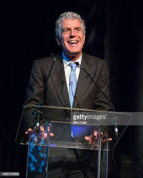 Chef Author and TV Personality Anthony Bourdain attends The 2015 Bronx Academy Of Letters Chefs' Tasting Benefit at The Edison Ballroom on March 4...