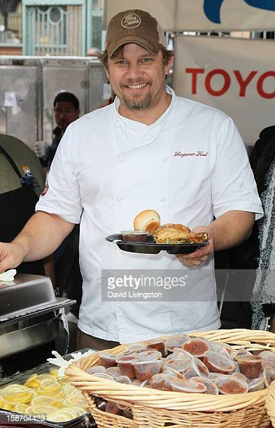 Chef Ben Ford attends the Los Angeles Mission's Christmas Eve for the homeless at the Los Angeles Mission on December 24 2012 in Los Angeles...