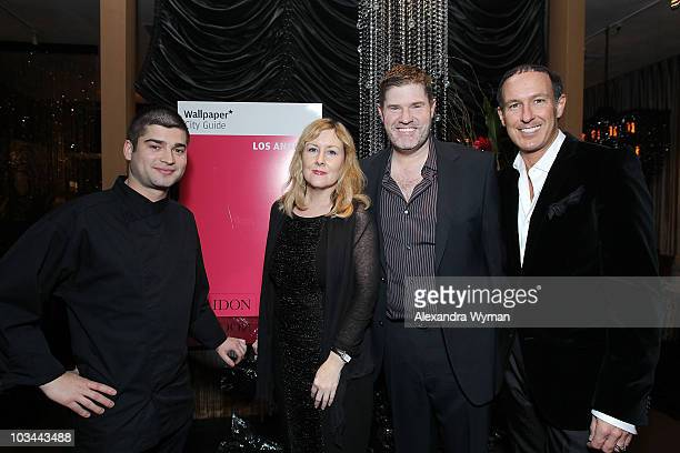Chef Benjamin Baily of Petrossian Caviar Carole Dixon Neal Wagner and Thomas Piscitello at WALLPAPER City Guide's Los Angeles 2010 Launch Party at...