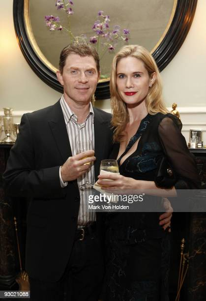 Chef Bobby Flay and actress Stephanie March attend the 'Eating Animals' Book launch celebration at a Private Residence on November 12 2009 in New...