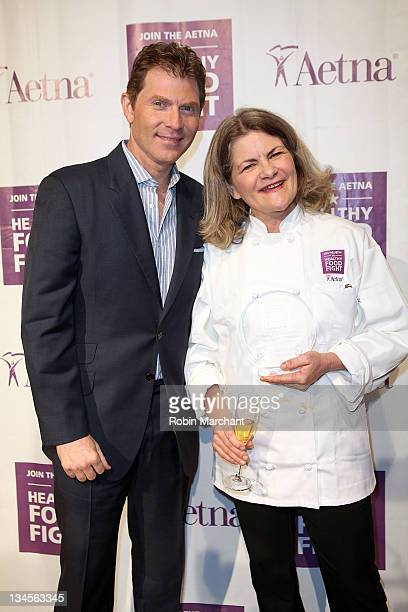 Chef Bobby Flay and Merry Graham attend the Aetna Healthy Food Fight regional semifinal cookoff at ABC Studios on December 2 2011 in New York City