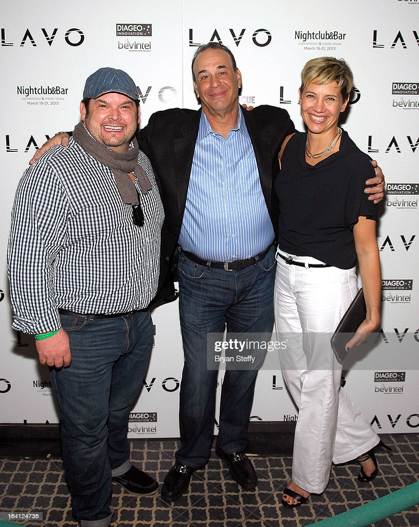 Chef Brian Duffy, Nightclub & Bar Media Group President and host and Co-Executive Producer of the Spike television show 'Bar Rescue' Jon Taffer and head mixologist for Diageo Wine and Spirits Elayne Duff arrive at a 'Bar Rescue' happy hour event at the Lavo Restaurant & Nightclub at The Palazzo Las Vegas during the 28th annual Nightclub & Bar Convention and Trade Show on March 19, 2013 in Las Vegas, Nevada.