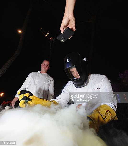 Chef Brian Etheredge and Chef Chris Kulis prepare liquid nitrogen infused ice cream at the 2011 Maui Film Festival Closing Night Party at Capische on...