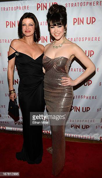 Chef Carla Pellegrino and model Claire Sinclair arrive at the premiere of the show Pin Up at the Stratosphere Casino Hotel on April 29 2013 in Las...