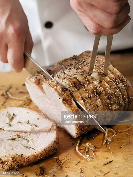 Chef Carving a Pork Roast