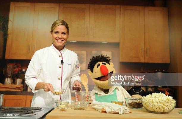 Chef Cat Cora Chef Angelo and Pepe The King Prawn during the 'Muppets Kitchen With Cat Cora' cooking demonstration held at Disney Studios on...