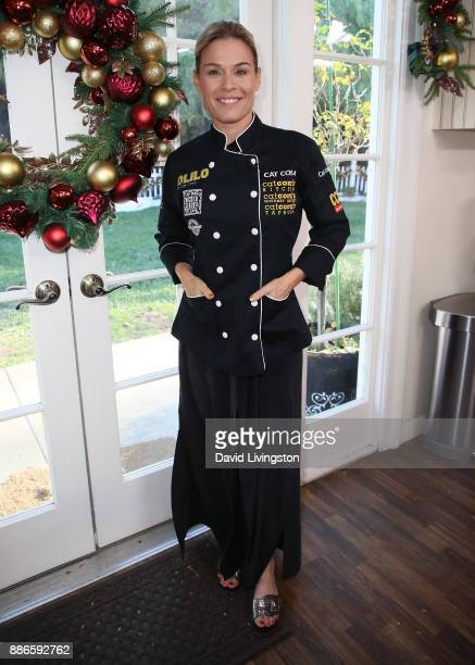 Chef Cat Cora visits Hallmark's 'Home Family' at Universal Studios Hollywood on December 5 2017 in Universal City California