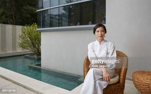Chef Chen Lansu sits outside at her restaurant Le Mout Chef Chen was listed as Asia's best female chef in 2014 and her restaurant is repeatedly...