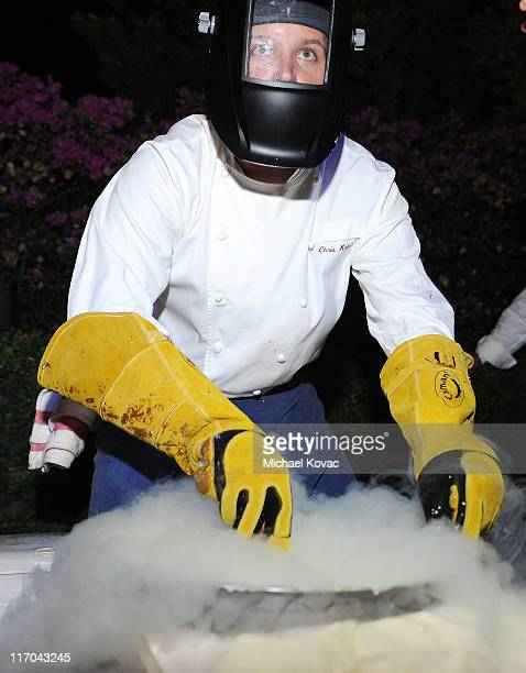 Chef Chris Kulis prepares liquid nitrogen infused ice cream at the 2011 Maui Film Festival Closing Night Party at Capische on June 19 2011 in Wailea...
