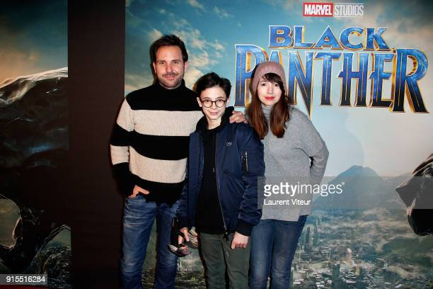 Chef Christophe Michalak his son and his wife Delphine McCarty attend Black Panther Special Screening at Le Grand Rex on February 7 2018 in Paris...