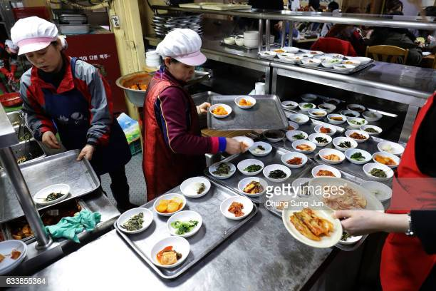 Chef cook dried pollack hangover soup at Hwangtae Hoegwan near the venue for the Opening and Closing ceremony ahead of PyeongChang 2018 Winter...