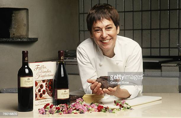 Chef cookbook author and chocolate expert Carole Bloom poses with some chocolate and wine during a 1995 Hopland California photo portrait session
