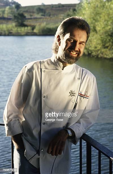 Chef cookbook author and owner of San Francisco's Fleur De Lys restaurant Hubert Keller poses during a 1997 Hopland California photo portrait session