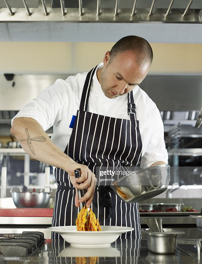 Chef Cooking Pasta : Stock Photo