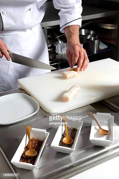 Chef cutting food