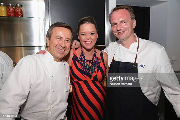 Chef Daniel Boulud Katherine Gage and chef Andrew Carmellini attend Ocean Liner dinner hosted by Anthony Bourdain Frederic Morin David McMillan...