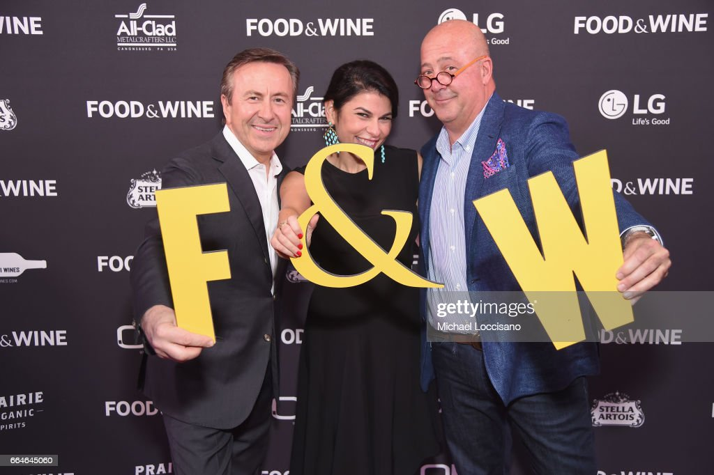 Chef Daniel Boulud, Nilou Motamed, Editor of Time Inc.'s Food & Wine, and Andrew Zimmern attend the Food & Wine Celebration of the 2017 Best New Chefs on April 4, 2017 in New York City.