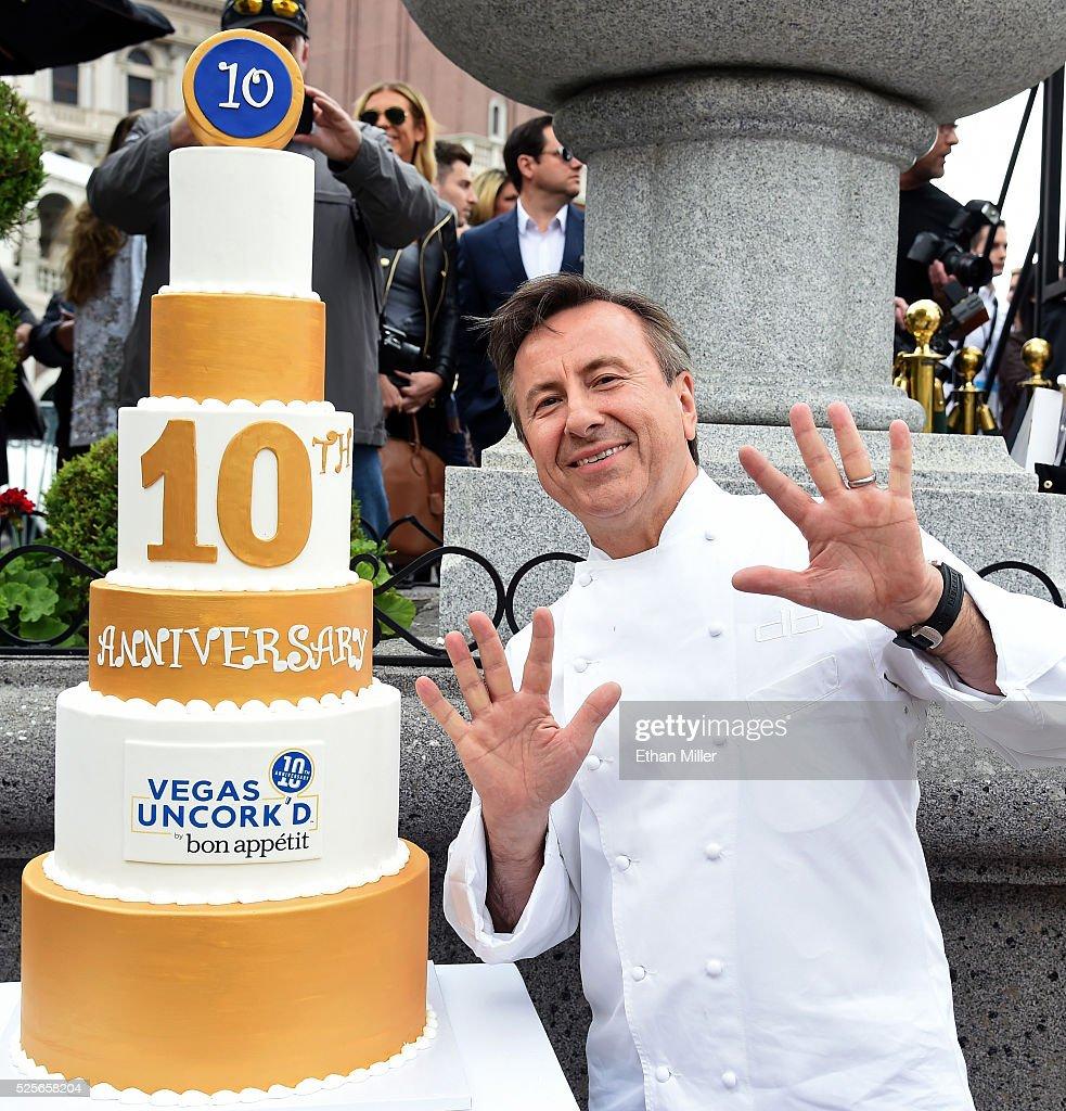 Chef Daniel Boulud Sabers Off A Bottle Of Prosecco Celebrating Vegas Uncork'd By Bon Appetit's 10th Anniversary