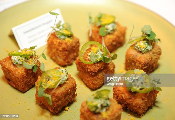 Chef Daniel Boulud's signature dish Sweetbread Nugget is offered as Bon Appetit And GQ Celebrate The Education Of A Foodie With Daniel Boulud at One...