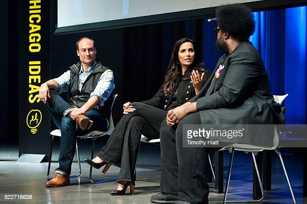 Chef Dave Beran Padma Lakshmi and Ahmir Khalib Thompson aka Questlove attends food For Thought At Chicago Ideas 2016 at Venue SIX10 on April 20 2016...