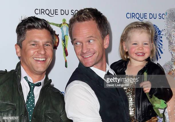 "Chef David Burtka, partner actor Neil Patrick Harris and daughter Harper Grace attend opening night of Cirque du Soleil's ""Totem"" at the Santa Monica..."