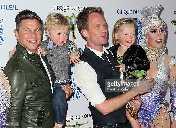 Chef David Burtka son Gideon Scott partner actor Neil Patrick Harris daughter Harper Grace and Cirque Du Soleil performer attend opening night of...